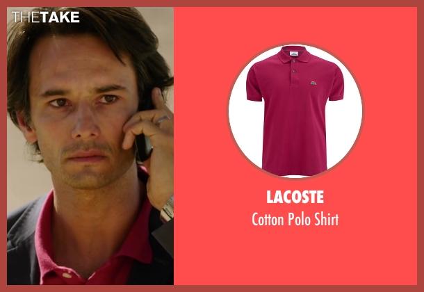 Lacoste pink shirt from The 33 seen with Rodrigo Santoro (Laurence Golborne)