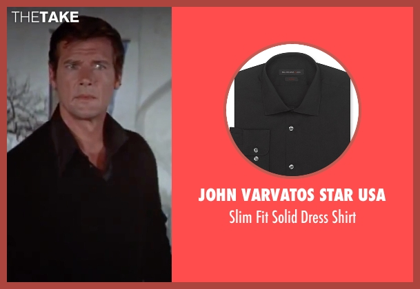 John Varvatos Star USA black shirt from The Spy Who Loved Me seen with Roger Moore (James Bond)