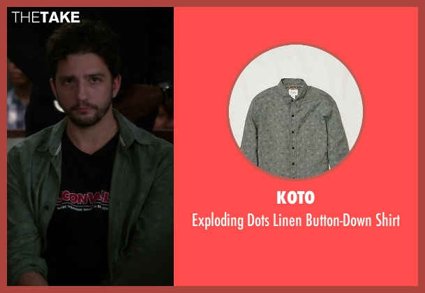 Koto green button-down shirt from The Good Wife seen with Roland Hlavin (John Magaro)