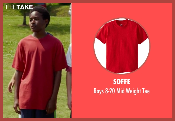 Soffe red tee from Let's Be Cops seen with Ron Caldwell (8th Grader #2)