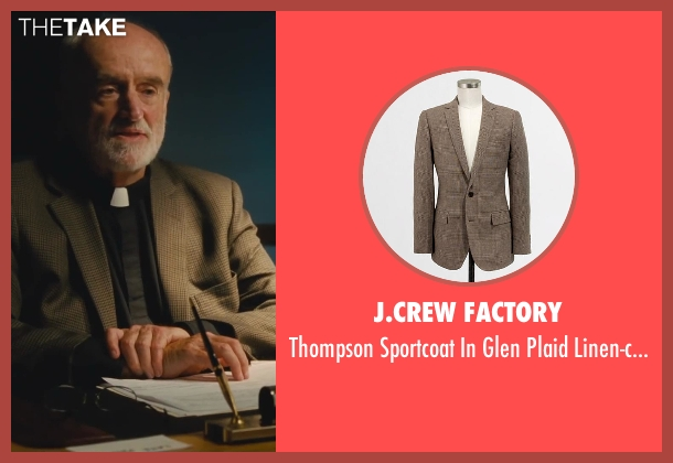 J.Crew Factory brown linen-cotton from St. Vincent seen with Ron McLarty (Older Priest with Beard)