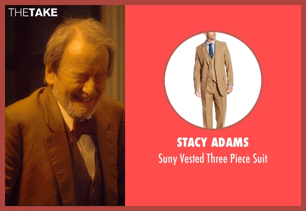 Stacy Adams brown suit from The Second Best Exotic Marigold Hotel seen with Ronald Pickup (Norman Cousins)