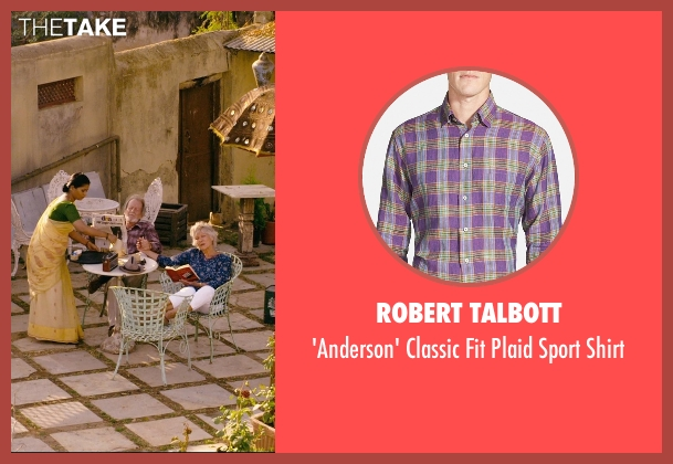 Robert Talbott purple shirt from The Second Best Exotic Marigold Hotel seen with Ronald Pickup (Norman Cousins)