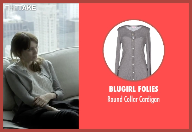 Blugirl Folies gray cardigan from Side Effects seen with Rooney Mara (Emily Taylor)