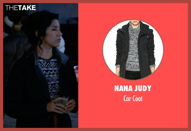 Nana Judy black coat from Brooklyn Nine-Nine seen with Rosa Diaz  (Stephanie Beatriz)