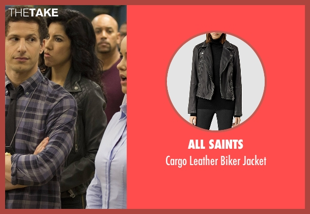 All Saints black jacket from Brooklyn Nine-Nine seen with Rosa Diaz  (Stephanie Beatriz)