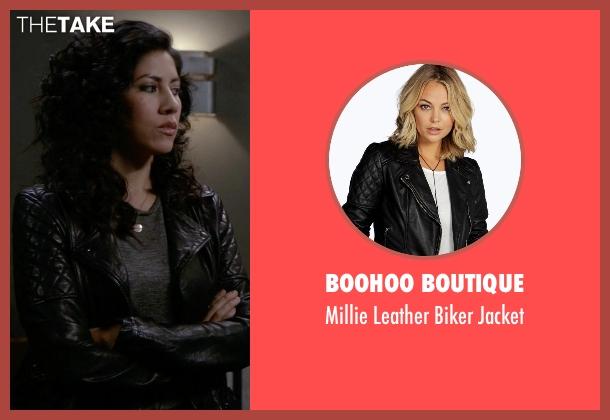 Boohoo Boutique black jacket from Brooklyn Nine-Nine seen with Rosa Diaz  (Stephanie Beatriz)