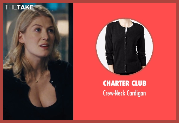 Charter Club black cardigan from Jack Reacher seen with Rosamund Pike (Helen Rodin)