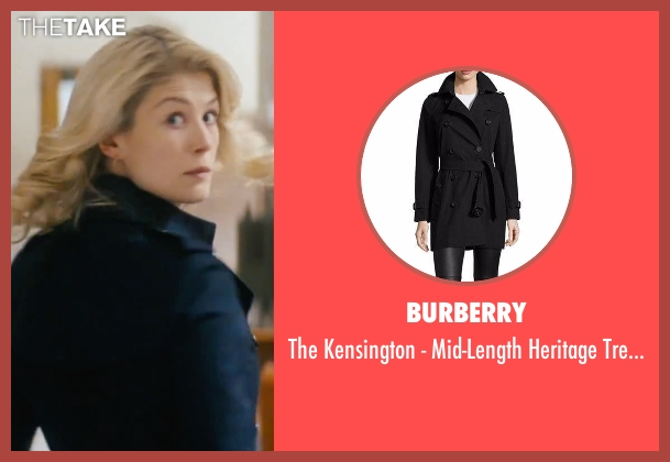 Burberry London black coat from Jack Reacher seen with Rosamund Pike (Helen Rodin)