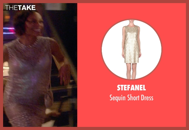 Stefanel beige dress from Top Five seen with Rosario Dawson (Chelsea Brown)