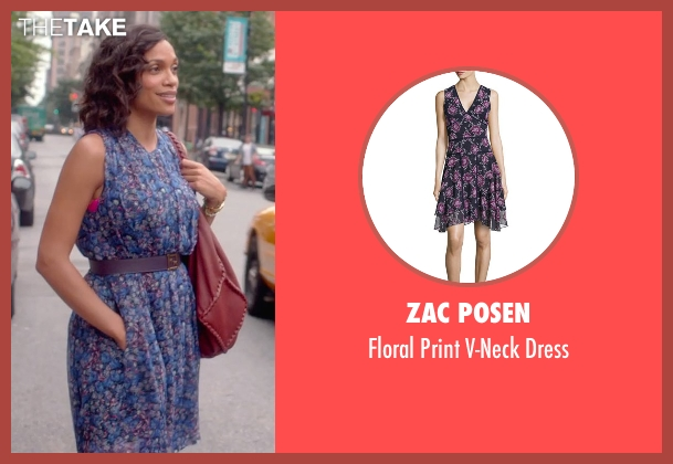Zac Posen purple dress from Top Five seen with Rosario Dawson (Chelsea Brown)