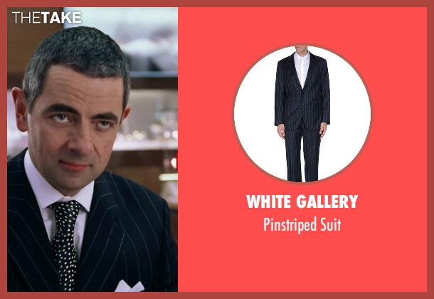White Gallery blue suit from Love Actually seen with Rowan Atkinson (Rufus)