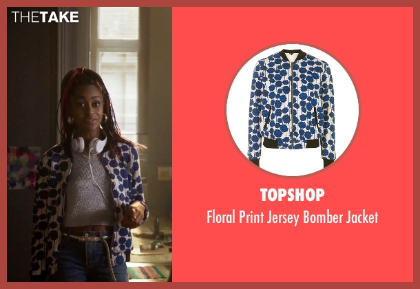 Topshop blue jacket from Guilt seen with Roz Walters (Simona Brown)