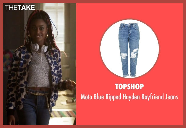 Topshop blue jeans from Guilt seen with Roz Walters (Simona Brown)