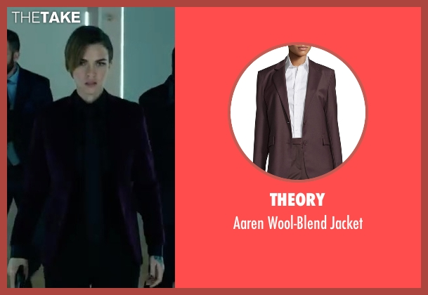 Theory purple jacket from John Wick: Chapter 2 seen with Ruby Rose (Ares)