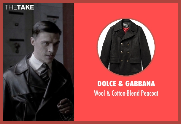 Dolce & Gabbana black peacoat from American Horror Story seen with Rudolpho Valentino (Finn Wittrock)