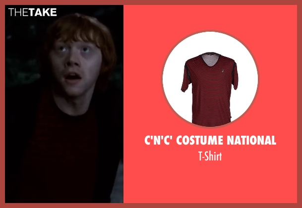 C'n'c' Costume National red t-shirt from Harry Potter and the Deathly Hallows: Part 2 seen with Rupert Grint (Ron Weasley)