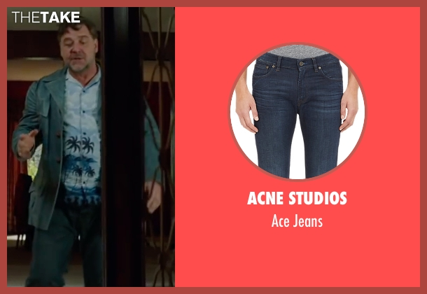 Acne Studios blue jeans from The Nice Guys seen with Russell Crowe (Jackson Healy)