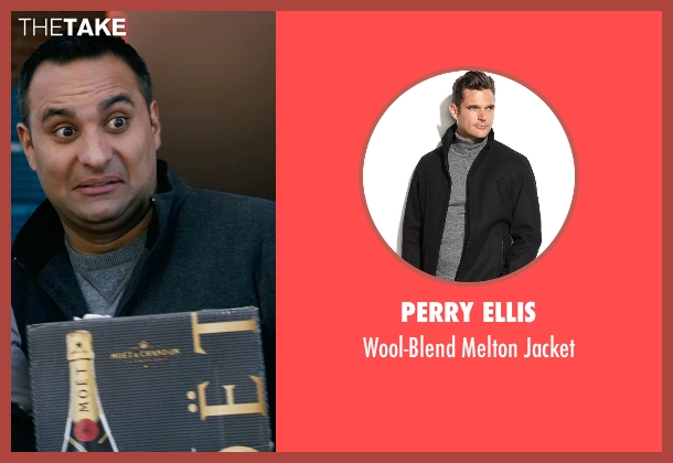 Perry Ellis black jacket from New Year's Eve seen with Russell Peters (Chef Sunil)