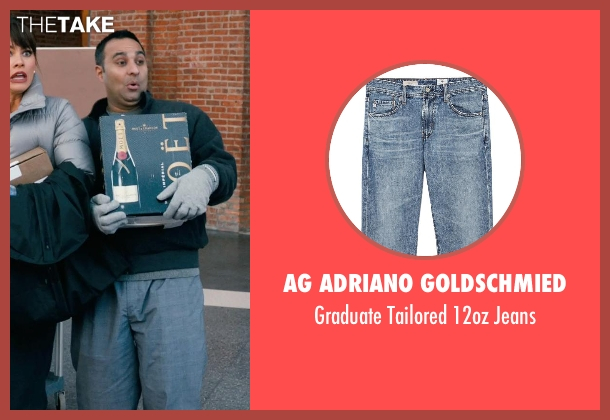 AG Adriano Goldschmied blue jeans from New Year's Eve seen with Russell Peters (Chef Sunil)