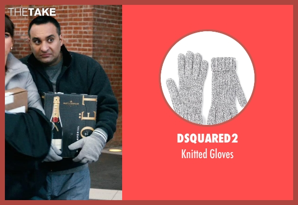 Dsquared2 gray gloves from New Year's Eve seen with Russell Peters (Chef Sunil)