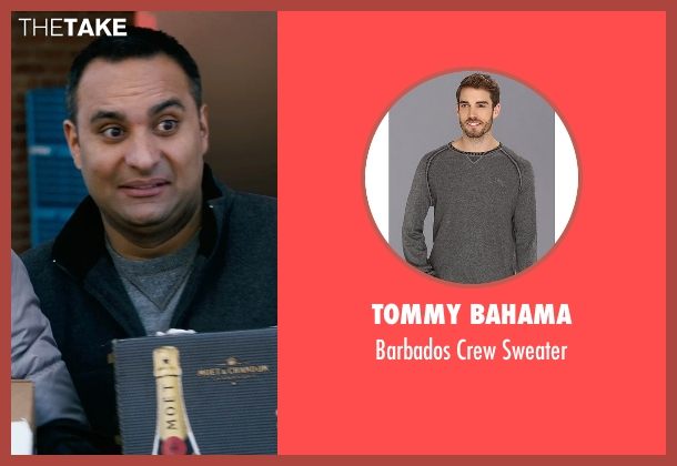 Tommy Bahama gray sweater from New Year's Eve seen with Russell Peters (Chef Sunil)