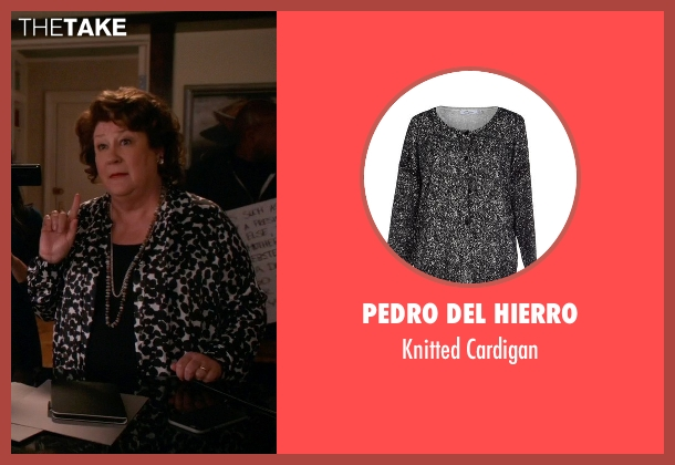 Pedro Del Hierro black cardigan from The Good Wife seen with Ruth Eastman (Margo Martindale)