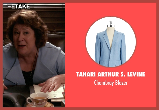 Tahari Arthur S. Levine blue blazer from The Good Wife seen with Ruth Eastman (Margo Martindale)