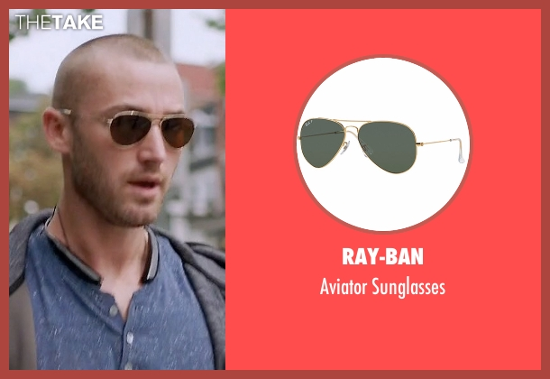 Ray-Ban gold sunglasses from Quantico seen with Ryan Booth (Jake McLaughlin)