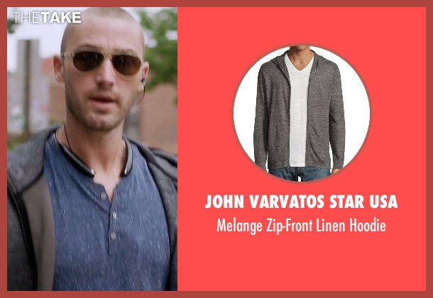 John Varvatos Star USA gray hoodie from Quantico seen with Ryan Booth (Jake McLaughlin)