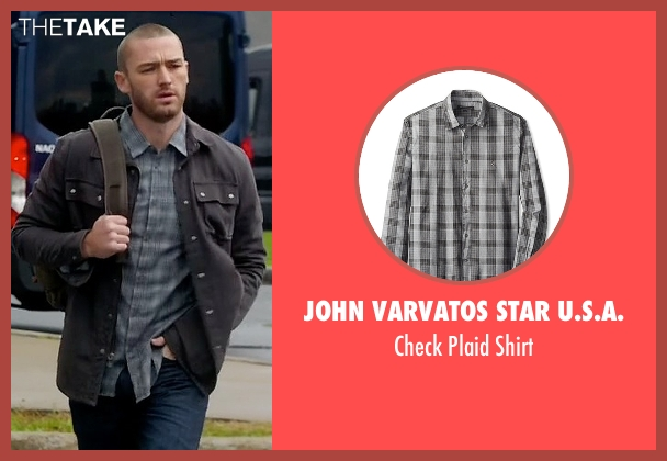 John Varvatos Star U.S.A. gray shirt from Quantico seen with Ryan Booth (Jake McLaughlin)