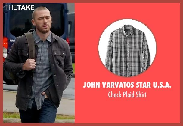 John Varvatos Star U.S.A. gray shirt from Quantico seen with Ryan Booth (Jake McLaughlin)
