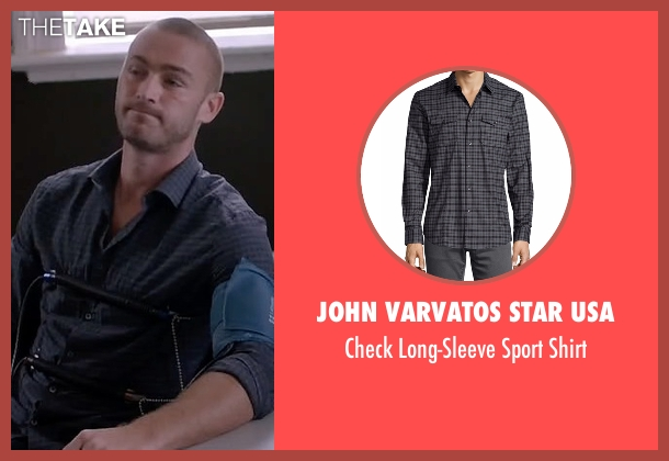 John Varvatos Star USA gray shirt from Quantico seen with Ryan Booth (Jake McLaughlin)