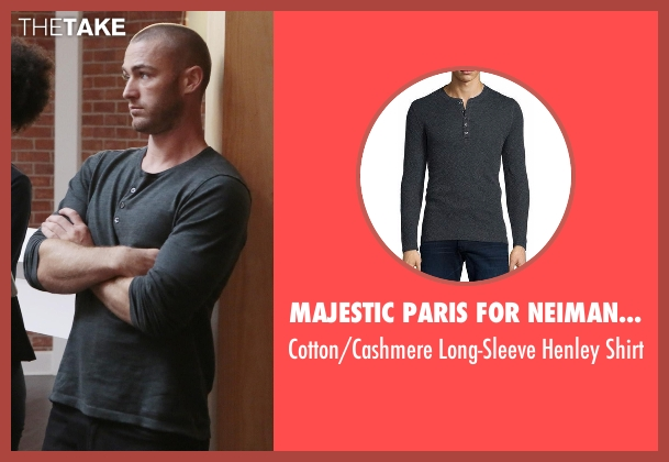 Majestic Paris for Neiman Marcus gray shirt from Quantico seen with Ryan Booth (Jake McLaughlin)