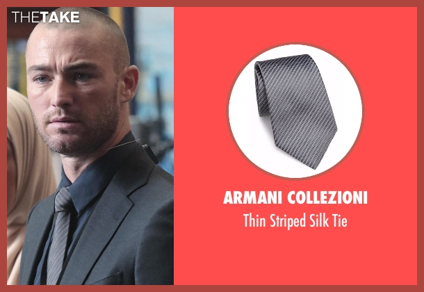 Armani Collezioni gray tie from Quantico seen with Ryan Booth (Jake McLaughlin)