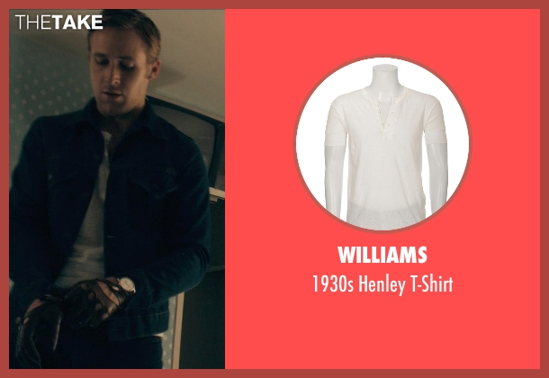 Williams white t-shirt from Drive seen with Ryan Gosling (Driver)