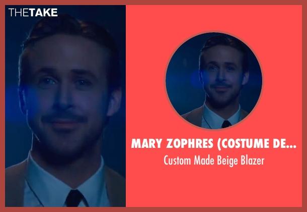 Mary Zophres (Costume Designer) beige blazer from La La Land seen with Ryan Gosling (Sebastian)