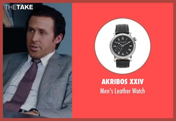 ryan gosling akribos xxiv men s leather watch from the big short akribos xxiv black watch from the big short seen ryan gosling jared vennett men s