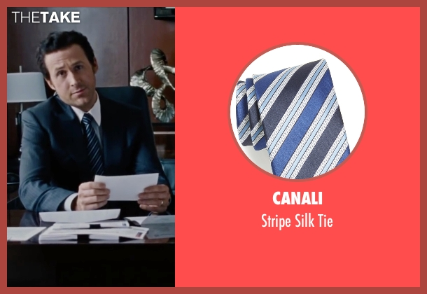 Canali blue tie from The Big Short seen with Ryan Gosling (Jared Vennett)