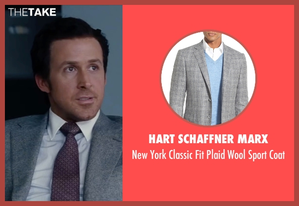 Hart Schaffner Marx gray coat from The Big Short seen with Ryan Gosling (Jared Vennett)