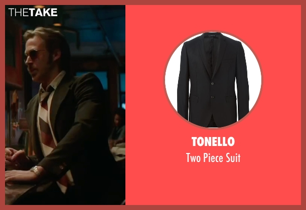Tonello black suit from The Nice Guys seen with Ryan Gosling (Holland March)