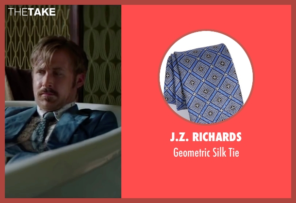 J.Z. Richards blue tie from The Nice Guys seen with Ryan Gosling (Holland March)