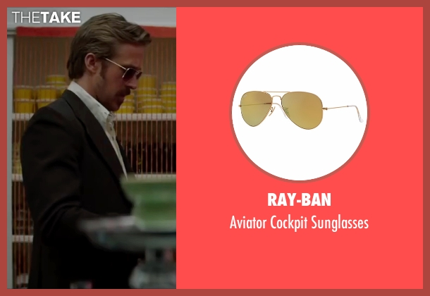 Ray-Ban gold sunglasses from The Nice Guys seen with Ryan Gosling (Holland March)