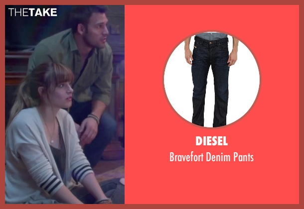 Diesel blue pants from Jem and the Holograms seen with Ryan Guzman (Rio Pacheco)