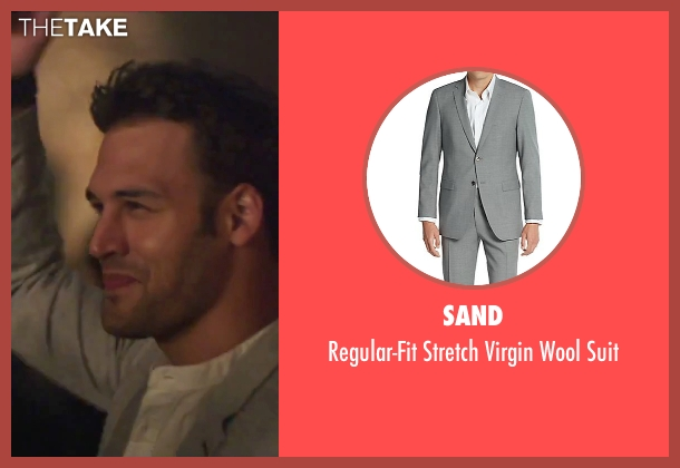 Sand gray suit from Jem and the Holograms seen with Ryan Guzman (Rio Pacheco)