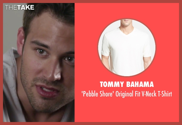 Tommy Bahama white t-shirt from Jem and the Holograms seen with Ryan Guzman (Rio Pacheco)