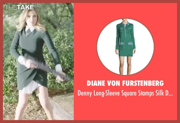 Diane Von Furstenberg green dress from Sharknado 4: The Fourth Awakens seen with Ryan Newman (Claudia Shepard)