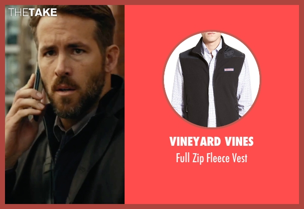 Vineyard Vines black vest from Criminal seen with Ryan Reynolds (Bill Pope)