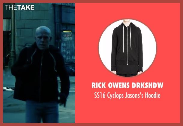 Rick Owens DRKSHDW black hoodie from Deadpool 2 seen with Ryan Reynolds (Wade Wilson / Deadpool)