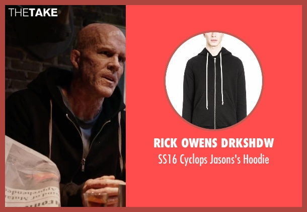 Rick Owens DRKSHDW black hoodie from Deadpool seen with Ryan Reynolds (Wade Wilson / Deadpool)